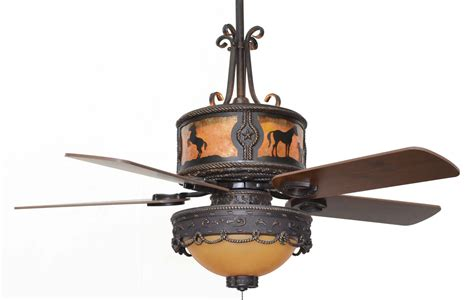 western ceiling fans with lights cc kvshr brz lk510 hs horses western ceiling fan