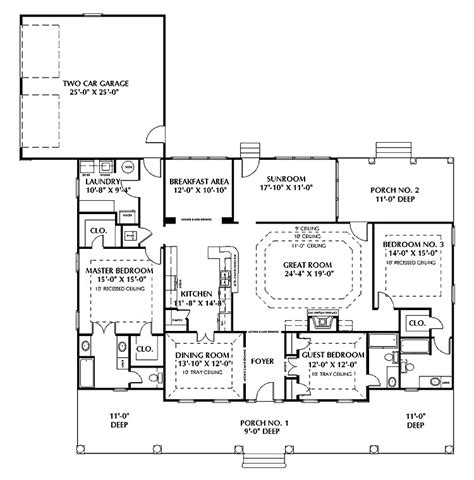one story house plans with two master suites