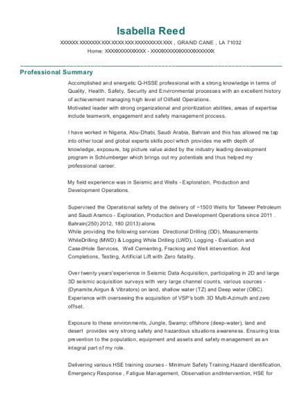 Resume For Schlumberger