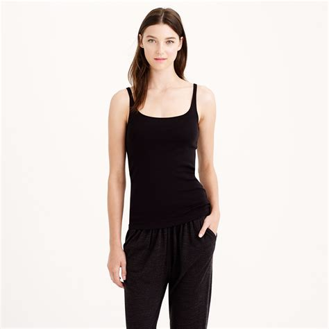 j crew fit tank top with built in bra in black lyst