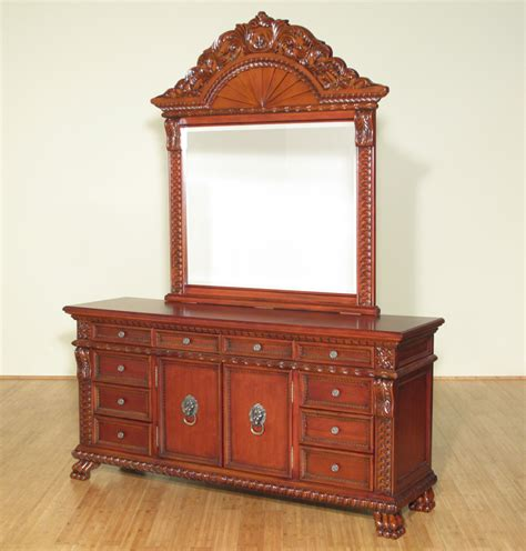 Cherry Wood Dresser With Mirror by 6ft Wide Solid Wood Cherry Rococo Vanity Dresser W Mirror
