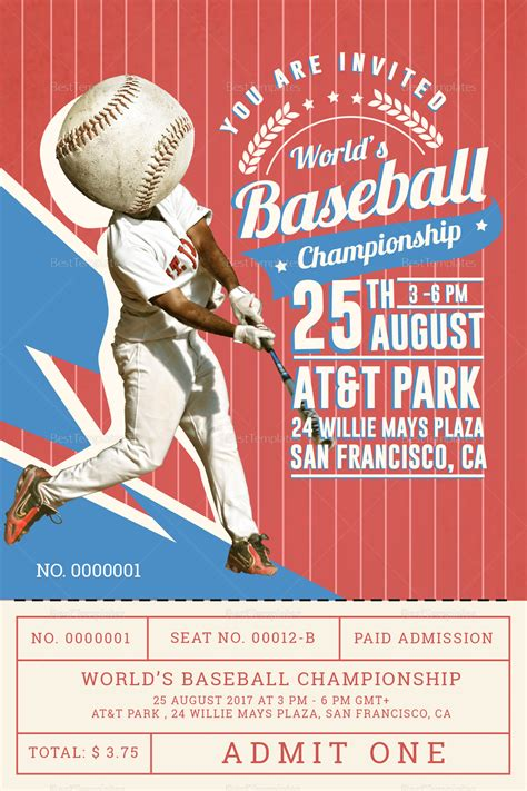 baseball card template indesign baseball ticket invitation card design template in psd