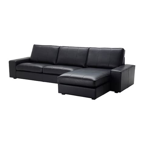 black leather couch with chaise kivik sofa and chaise lounge grann bomstad black ikea