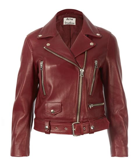 Jaket Jacket Murah King Maroon acne studios burgundy leather boxy mock jacket in lyst