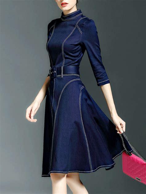 Gaun Midi Denim multiflora color block cotton midi dress dresses