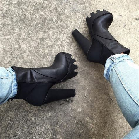 shoes heels booties fall booties black booties thick