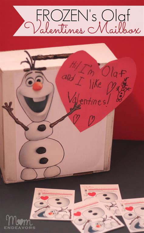 olaf printable valentines day cards disney s frozen olaf valentines mailbox