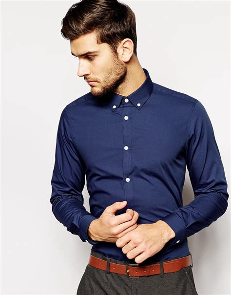 Button Collar Shirt lyst asos smart shirt in sleeve with button