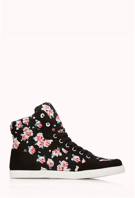 floral high heels forever 21 lyst forever 21 pretty tough floral high tops in black