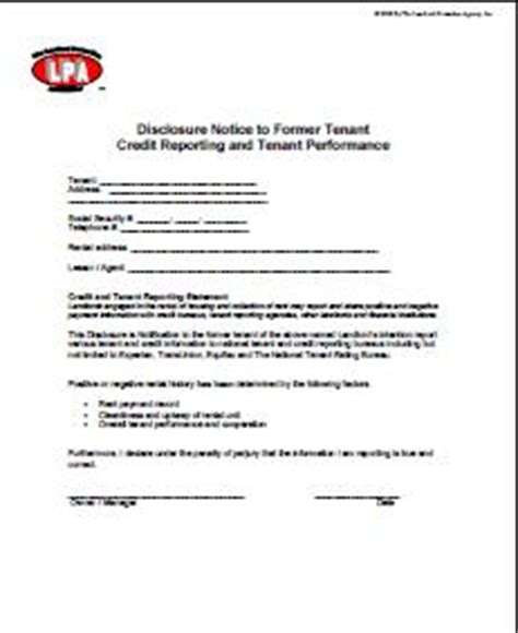 Lease Letter Of Credit Credit Reporting Disclosure Notice To Tenant Lease Addendum