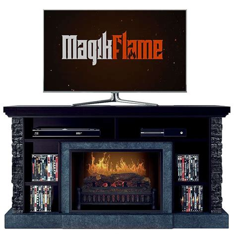 Electric Tv Fireplace Stand by Hades Caribbean Mahogany Stacked Stone Media Center