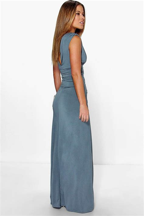 Womens Dressers by Boohoo Womens Donna Plunge Ruched Maxi Dress Ebay