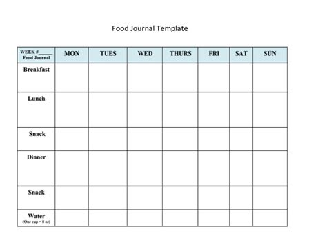 printable food journal sheets search results for food diary template printable