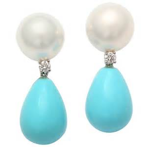 Pearl diamond and turquoise drop earrings at 1stdibs