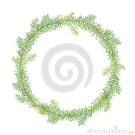 card frames templates pine boughs green watercolor frame pine branches stock illustration