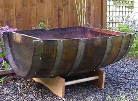 split barrel wood planter
