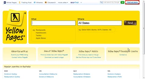 Search For Website Yellow Pages Backward Compatibility