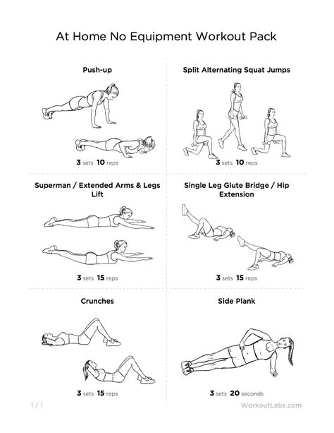 workout routines at home without weights workout