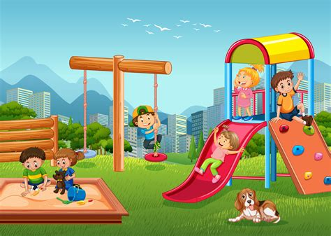 children playing  playground   vectors clipart graphics vector art
