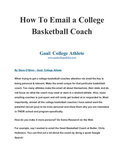 How to Email a College Basketball Coach