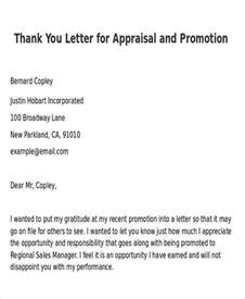 Appraisal Thank You Letter Sle Thank You Letter For Promotion 5 Exles In Word Pdf