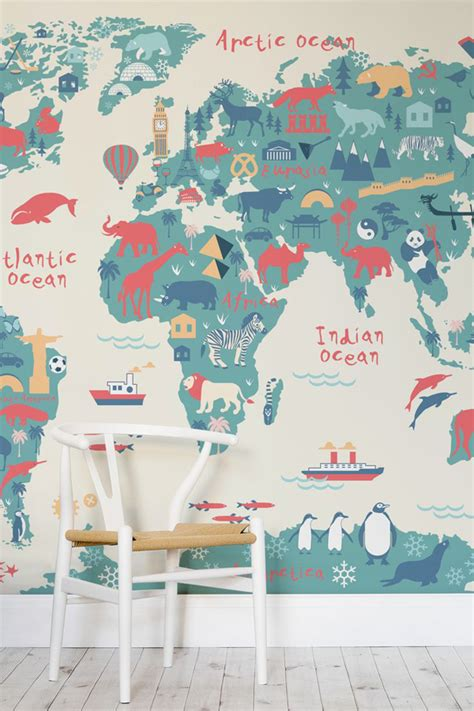 explorer world map mural