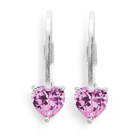 Present Silver Charm With Pink Cubic Zirconia P 1174 disney s pink cubic zirconia sterling silver leverback earrings jewelry earrings