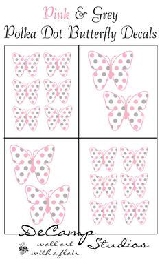 Abstrak Polkadot Butterfly pink and brown camo polka dots wall border decals for baby