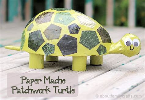 Crafts Paper Mache - paper mache patchwork turtle