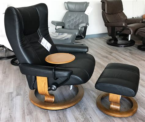ekornes leather recliner stressless wing paloma black leather recliner chair and