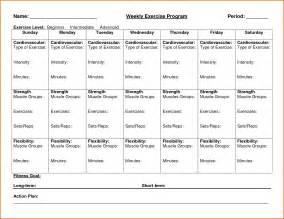 Weekly Workout Schedule Template by Weekly Calendar Calendar Template 2016