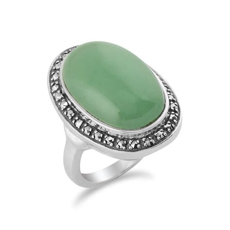 green jade sparkling marcasite oval ring in 925 sterling