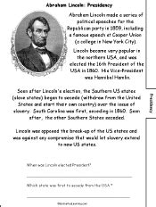 abraham lincoln biography questions abraham lincoln a printable book for fluent readers