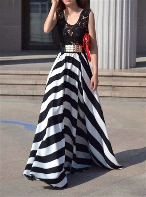 Longdress Sammy Tosca hollow out design striped sleeveless scoop neck floor length dress for white and black m