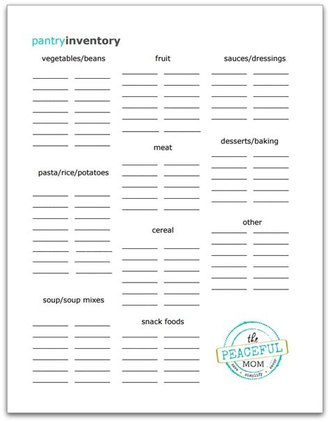 Pantry Planner by Free Pantry Inventory Printable The Peaceful