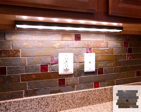 Red Kitchen Backsplash Ideas by Rusty Slate Subway Mosaic Red Glass Kitchen Backsplash