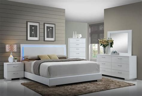felicity glossy white  led lighting king bed quality