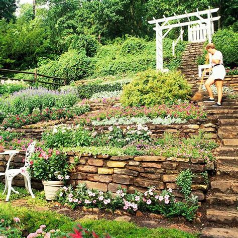 sloping backyard landscaping ideas hillside landscaping ideas gardens terrace and hillside