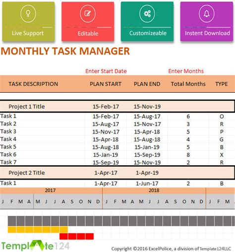 monthly task list template excel monthly project task manager template xlsx format