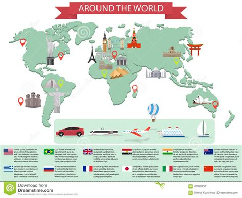 map world mouments infographic world landmarks on map stock vector image