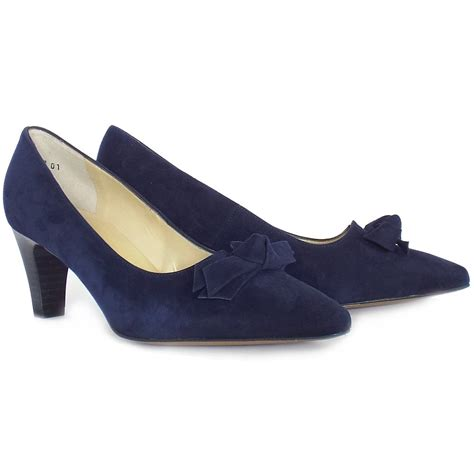 slippers with heels kaiser leola mid heel court shoes in navy suede