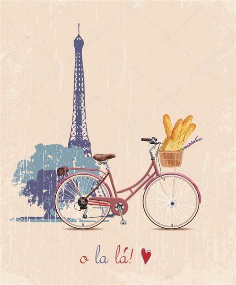 imagenes vintage de la torre eiffel el cartel con la moto y baguettes francesas en estilo