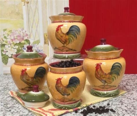 country kitchen canisters rooster canister set country kitchen storage decor 4 pc flour sugar coffee tea ebay