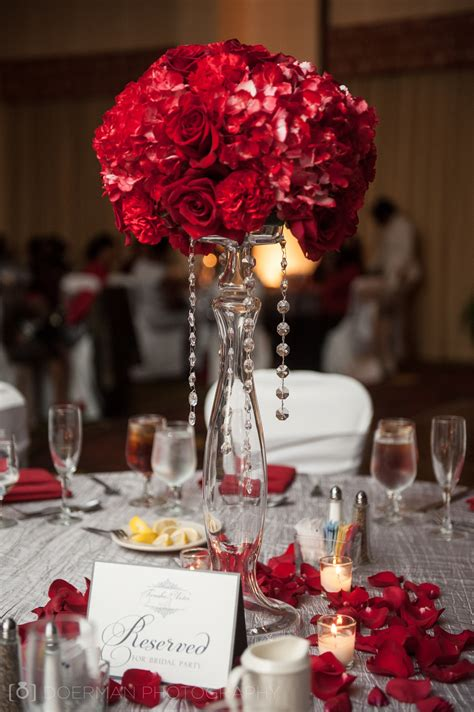 Red Flower Ball Centerpiece With Hanging Jewels Balls Centerpieces Wedding