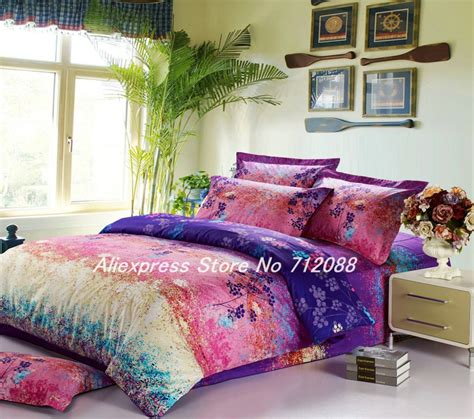 colorful comforter sets king bedlinen 4pcs queen full king colorful leaves pattern
