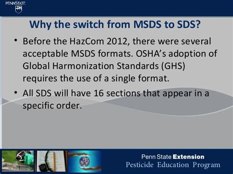 msds 16 section format msds sds differences training by penn state university