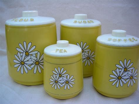 Kitchen Canister Set Yellow Vintage Kitchen Yellow Canisters Set Of 4 Daisies