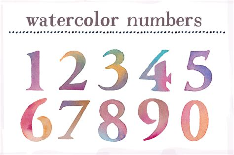 watercolor numbers clip