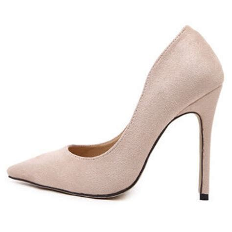 high heel pumps beige suede pointed toe high heel pumps