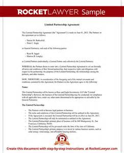 limited partnership agreement template limited partnership agreement form with sle